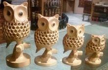 Wood Carved Birds Owls