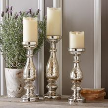MERCURY SILVER GLASS CANDLE HOLDER