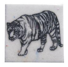 Handmade Animal Drawing Blue Pottery Tiles