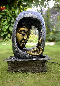 Multicolor Light Buddha Face Water Fountain