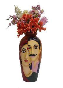 Wooden Color Couple Face Flower Vase