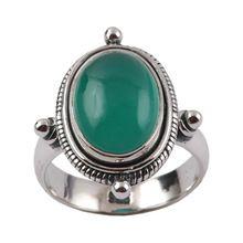 Green Onyx 925 Sterling Silver Gemstone Men's Silver Rings