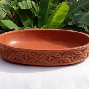 Oval Shape Clay Serving Bowl