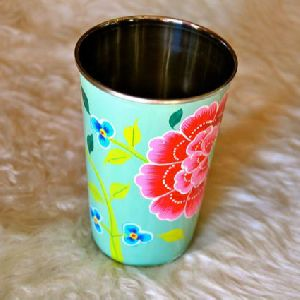 Stainless Steel Hand Painted Water Glass