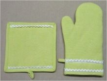 Cotton Lace Oven Mitt Pot Holder Set