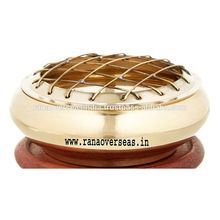 Brass Incense Charcoal Burner With Wood Stand