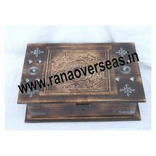 Wooden Carved Antique Square Shape Treasures Box