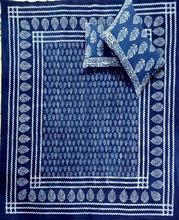 Indian Hand Block Printed Cotton Indigo Color With Pillow Cover Bed
