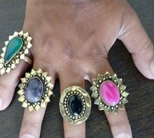 Gold Plated Stone Brass Metal Fashion Rings