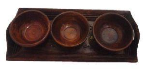 Wooden Serving Tray 3 Bowl