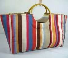 Cotton Canvas Bags Round Cane Handle