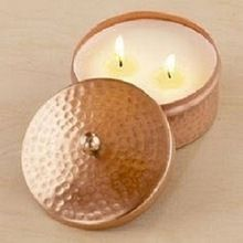 Copper Hammered Finish Candle Jar
