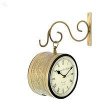 Embossed Brass Antique Wall Hanging Clock