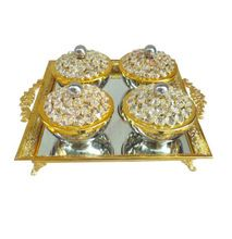 Gold Crystal Decorated Dry Fruit Bowl