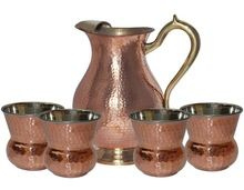 COPPER HAMMERED WATER DRINKING PITCHER