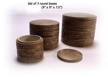 Hand Carved Round Wood Box