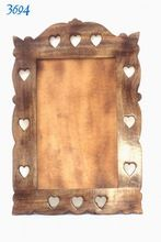 Heart Cut Wood Mirror Frame