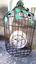 Metal Wall Clock With Bird Cage