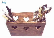 Wood Heart Cut Cutlery Basket