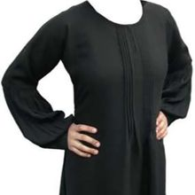 Round Neck With Bell Pleated Sleeves Abaya