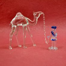 Camel And Man Glass Figurine