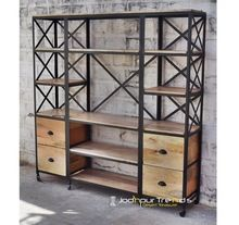 Mango Wood Iron Bookshelf