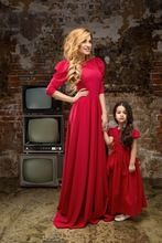 Red Poly Crepe Full Length Maxi Dress