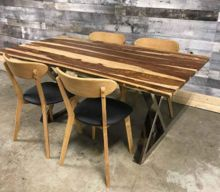 Industrial Dining Table With Metal X Chrome Legs