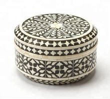 Traditional Round Bone Inlay Storage Box