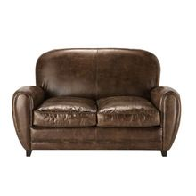 Two Seater Leather Vintage Sofa In Brown