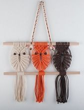 Christmas Gift Three Owls Macrame Woven Wall Hanging