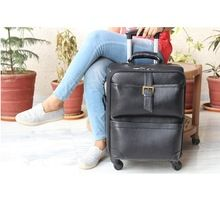 Genuine Leather Classic Travel Trolley Luggage Bag