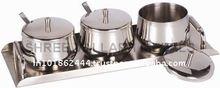 3pc Set Stainless Steel Sugar Bowl