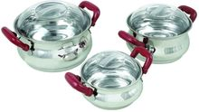 Stainless Steel Cookware Set With Glass Lids