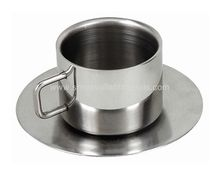Stainless Steel Double Wall Cup With Saucer