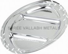 Stainless Steel High Design 3 Compartment Oval Tray