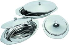 Stainless Steel Oval Food Serving Tray With Steel Lid