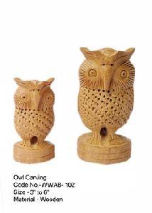 Wood Carved Jali Owl Flat