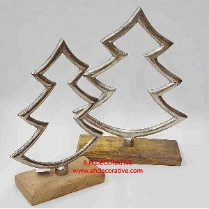 Aluminum Christmas Tree On Wooden Base