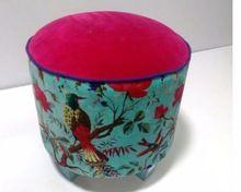 bird print upholstered ottoman
