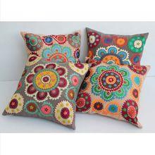 Eco-friendly Suzani Embroidered Cotton Cushion Cover