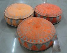 Embroidered Cotton Round Pouf