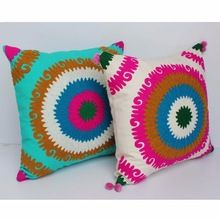 Machine Hand Embroidered Cushion Cover