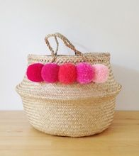 Pom Pom Sea Grass Belly Basket