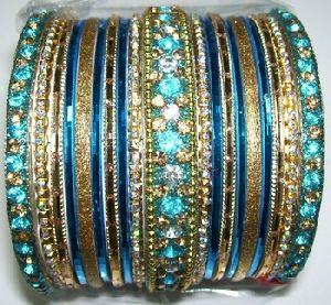 Aluminum And Stone Bangle Set