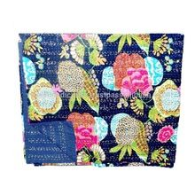Beautiful Printed Cotton Kantha Work Bedspread