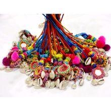 Handmade Crafted Pom Pom Mirror Beads Work Shell Handbag