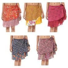 Indian Crepe Silk Sari Skirt Reversible Double Layer Mini Beach Skirt Wholesale 24 Inch