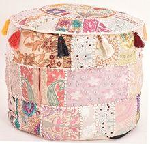 Indian Vintage Old Saree Cotton Handmade Pouf Ottoman Embroidery Pouf