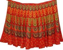 Motif Print Indian Handmade Sari Stylish Cotton Ladies Wrap Skirt For Summer